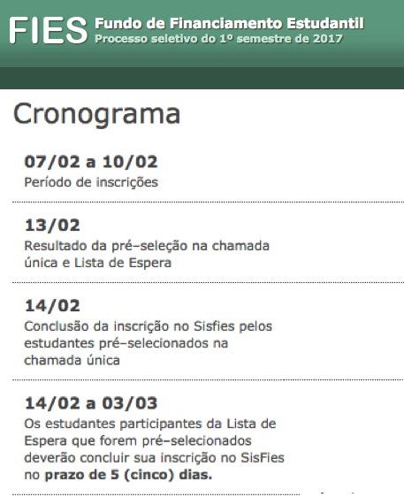 Cronograma FIES